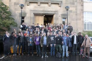 Chemical Engineering staff and students assembled for a group photograph in front of the Sanderson Building